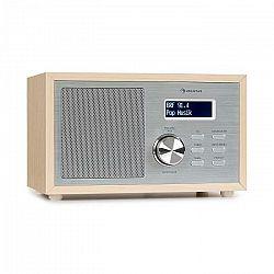Auna Ambient DAB+/FM, rádio, BT 5.0, AUX vstup, LCD displej, budík, drevený vzhľad, hnedé