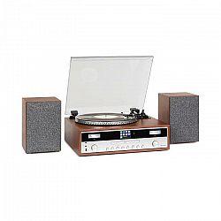 Auna Birmingham, HiFi stereo systém, DAB+/FM, BT funkcia, vinyl, CD, USB, AUX vstup, drevo