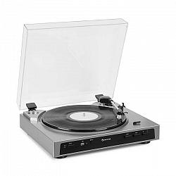Auna Fullmatic, plne automatický gramofón, USB, predzosilňovač, strieborný