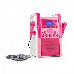Auna KA8B-V2, ružový, karaoke systém, CD prehrávač, 2 x mikrofón, vrátane 3 x karaoke CD