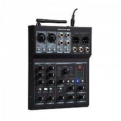 Auna Pro Blackbird, 6-kanálový mixér, mixážny pult , BT, USB, MP3, 2 x XLR mikrofónový vstup, čierny