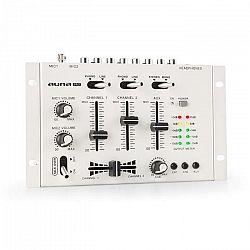 Auna Pro TMX-2211, MKII, DJ-Mixer, 3/2 kanálov, crossfader, talkover, montáž na rack, biely