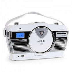 Auna RCD-70, retro rádio, FM, USB, CD, batéria, biele