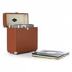 Auna TTS6, hnedý, kufor na platne, koža, nostalgický, 30 LP platní