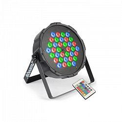 Beamz FlatPAR, 36 x 1W, PAR reflektor, RGB, LED, DMX, IR, diaľkový ovládač