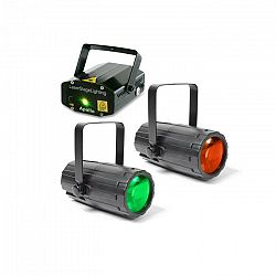 Beamz Light Package 2, set disko svetelných efektov, 2 x svetelný efekt, 1 x laser