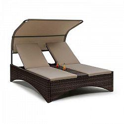 Blumfeldt Eremitage Double Lounger, ležadlo pre 2 osoby, hliníkový rám/ratan, hnedé