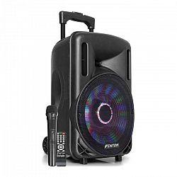 "Fenton FT10LED, aktívny reproduktor, 10"", 450 W, BT/USB/SD/AUX, LED, akumulátor, vozík"
