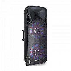 """Fenton FT215LED, aktívny reproduktor, 2 x 15"""", 1600 W, BT/USB/SD/MP3/AUX, LED, 2 x mikrofón, vozíková konštrukcia"""
