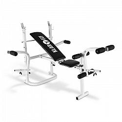 KLARFIT HB3BC-W, tréningová lavica, posilňovanie rúk, nôh, odkladacia plocha, biela