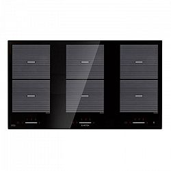 Klarstein Virtuosa Flex 90, indukčná varná doska, 6 zón, 10800 W, Ceran, vstavaná, čierna